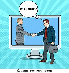 Pop Art Businessmen Shake Hands Through the Computer Screen. Business Contract. Vector illustration