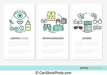 Optician Thin Line Vector Brochures and Business Cards Set...