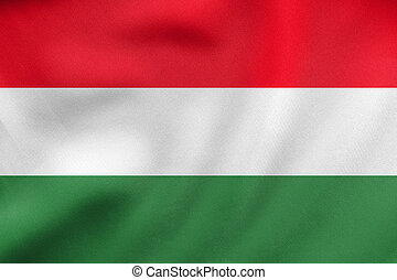 Flag of Hungary waving, real fabric texture