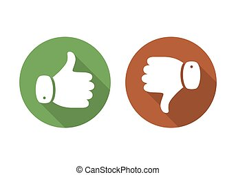 Thumb up and down icon. Vector illustration.