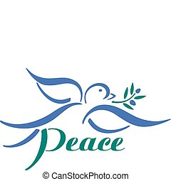 Dove Peace - Dove with olive branch graphic