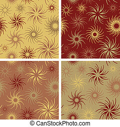Fire Flower Pattern_Crimson-Wheat - Seamless abstract floral...