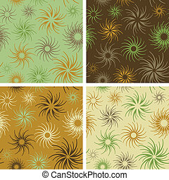 Fire Flower Pattern_Green-Brown - Abstract floral seamless...
