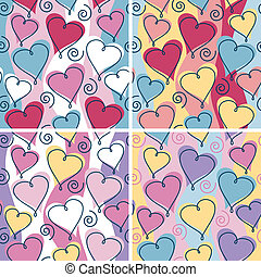 Floating Hearts Pattern - A seamless, repeating hearts and...