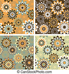 Floral Pattern_Autumn - Seamless retro-style floral pattern...