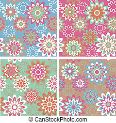 Floral Pattern_Summer - Seamless retro-style floral pattern...