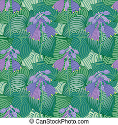 Flowering Hosta Pattern - Seamless pattern of flowering...