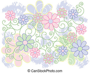 Flowers and Scrolls Background
