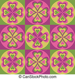 Folk Hearts_Pink-Green - A seamless pattern of folksy hearts...