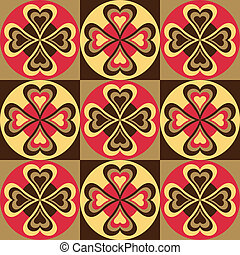 Folk Hearts_Red-Black - A seamless pattern of folksy hearts...
