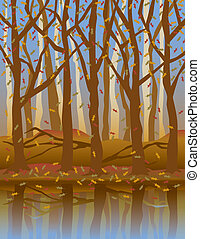 Four Seasons Forest-Fall - A stylized illustration of trees...