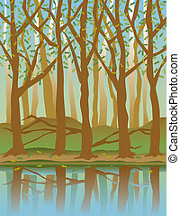 Four Seasons Forest-Spring - A stylized illustration of...