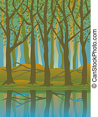 Four Seasons Forest-Summer - A stylized illustration of...
