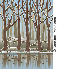 Four Seasons Forest-Winter - A stylized illustration of...