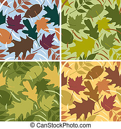Four Seasons Leaf Pattern - Vector seamless pattern of...
