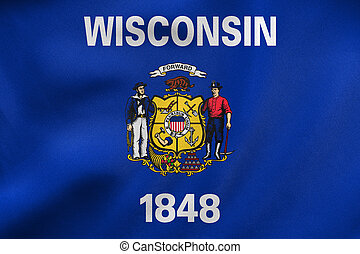 Flag of Wisconsin waving, real fabric texture - Flag of the...