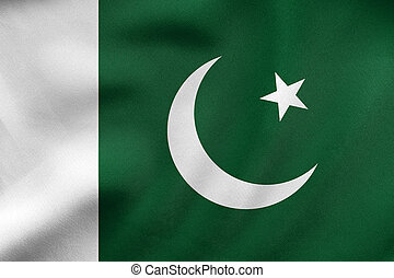 Flag of Pakistan waving, real fabric texture