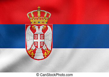 Flag of Serbia waving, real fabric texture
