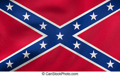 Confederate rebel flag waving, real fabric texture -...