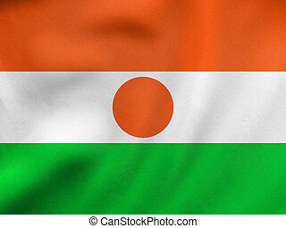Flag of Niger waving, real fabric texture