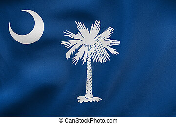 Flag of South Carolina waving, real fabric texture - Flag of...