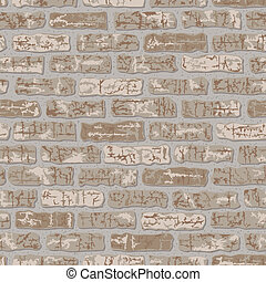 Grungy Brick Pattern_Beige - Vector seamless beige brick...