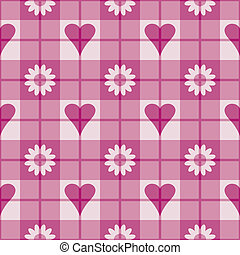 Hearts and Flowers Plaid - Seamless plaid pattern with pink...