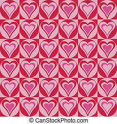Hearts Background_Red-Pink - Vector hearts within circles...
