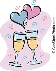 Heres To LOVE - Vector illustration of toasting glasses with...