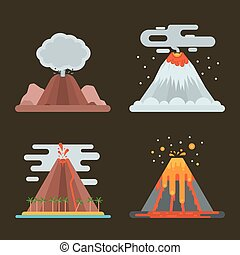 Volcano set vector illustration. - Volcano magma nature...