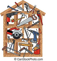 House Construction - Construction tools in wood frame house....