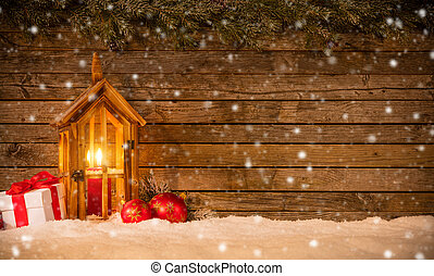 Christmas background with gifts and lantern - Christmas...