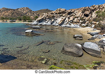Blue Waters and rock formations of kolymbithres beach, Paros...