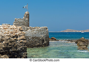 Venetian fortress in Naoussa town, Paros island, Cyclades,...