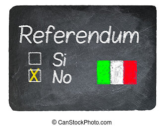 Italy referendum concept using chalk on slate blackboard -...