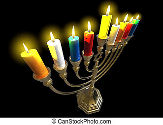 Hanukkah menorah 3D render - Menorah Hanukkah lamp which is...