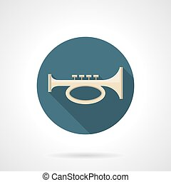 Brass horn flat color round vector icon - Cornet, bugle or...