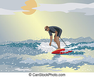 Middle-Aged Surfer - Vector illustration of a middle aged...