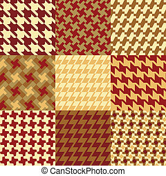 Nine Houndstooth Patterns - Collection of nine different...