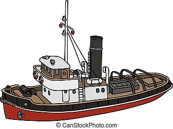 Old harbour tugboat - Hand drawing of an old steamboat - not...