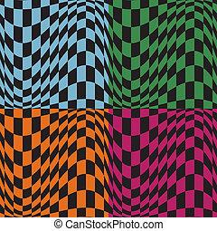 Op Art Pattern - Seamless Op Art pattern in four color...