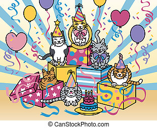 Party Cats - Vector illustration of cats celebrating at a...