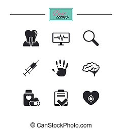 Medicine, medical health and diagnosis icons. Blood, syringe...