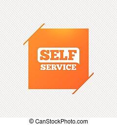 Self service sign icon. Maintenance button. Orange square...