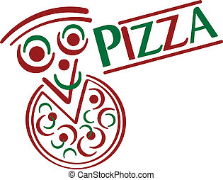 Pizza Cartoon - Cute cartoon pizza with type treatment.