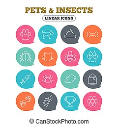 Pets and Insect icon. Dog, Cat paw with clutches. - Pets and...
