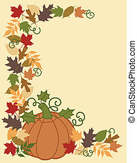 Pumpkin and Leaves Border - Vector illustration of a pumpkin...