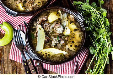 Traditional chilean latinamerican meat soup ajiaco served in...