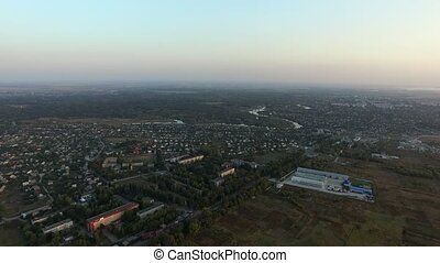 Small town. View from the bird's flight. Nature morning