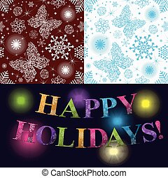 Christmas set of two seamless patterns and inscription